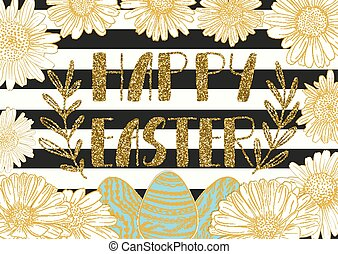 Happy Easter holiday celebration card with hand drawn lettering design