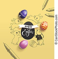 Happy Easter holiday wish surrounded by lovely baby bunnies, colorful decorative eggs, pen and pencil on yellow background. Vector illustration for print design, festive children's event invitation.