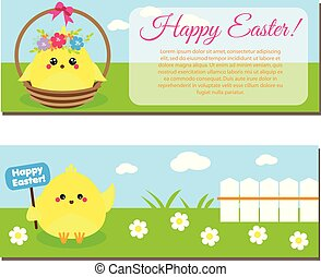 Happy Easter horisontal banners with cute cartoon chickens.