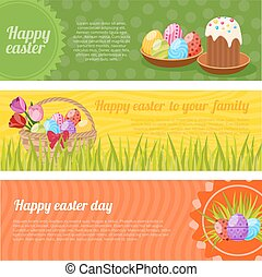 Happy Easter Horizontal Banners Set