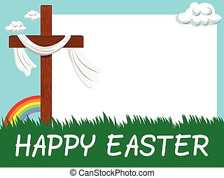 Happy Easter horizontal blank frame Christian cross in the meadow