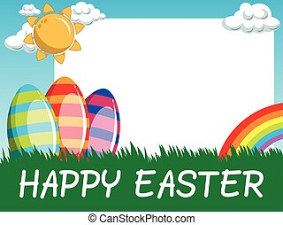 Happy Easter horizontal blank frame decorated eggs in the meadow