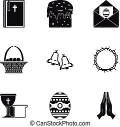 Happy Easter icon set, simple style
