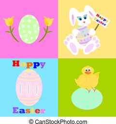 Happy Easter Icon set with rabbit, chick, decorated eggs and tulips