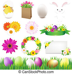 Happy Easter Icons And Green Grass
