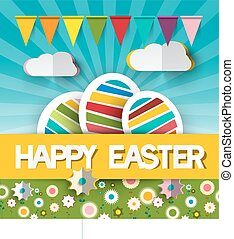 Happy Easter  Illustration with Paper Cut Title - Colorful Eggs - Flags and Spring Sunny Flowers on Garden