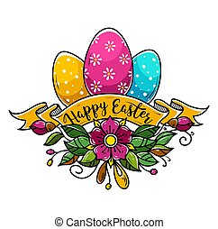 Happy Easter illustration with three Easter eggs -...