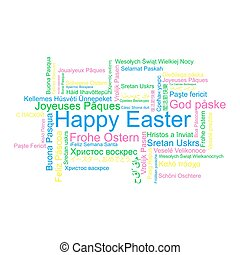 Happy Easter in different languages, word tag cloud, vector