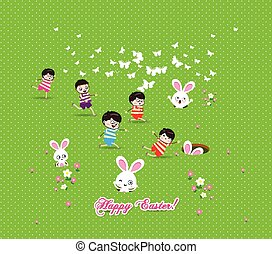 Happy easter Kids bunny eggs grass