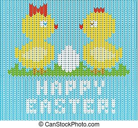 Happy Easter knitted chicken background , vector illustration
