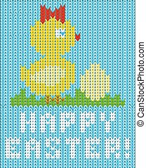 Happy Easter knitted chicken banner , vector illustration