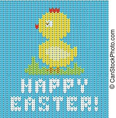 Happy Easter knitted chicken card , vector illustration