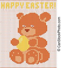 Happy Easter knitted teddy bear, vector illustration