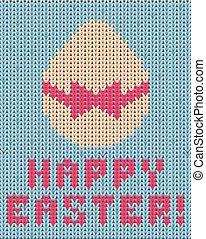Happy easter knitting egg, vector illustration