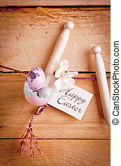 Happy Easter Label With Eggs