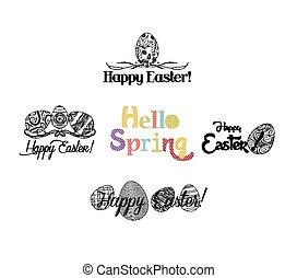 Happy Easter labels set
