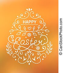 Happy Easter lettering on yellow blur background. - Line art...