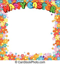 Happy Easter Lettering with Colorful Floral Border