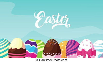 happy easter lettering with eggs painted ,4k video animated