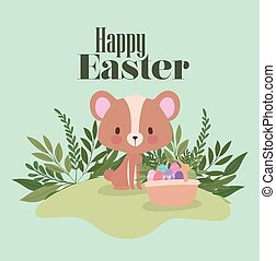 happy easter lettering with one cute bear and one basket full of easter eggs