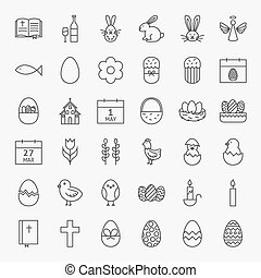 Happy Easter Line Icons Big Set