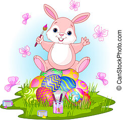 Happy Easter - llustration of Easter bunny sitting on eggs ...