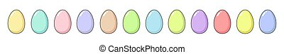 Happy Easter long set with a dozen Easter painted eggs. Fun holiday elements in bright colors - pink, blue, yellow, green, lilac, purple, mint and coral. Square format, vector flat illustration isolated on white background