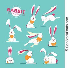 Happy Easter - modern vector set of illustrations