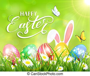 Happy Easter on green background with bunny and eggs