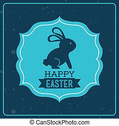 happy easter over blue background vector illustration