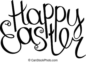 Happy Easter Hand Drawn Lettering Phrase Isolated On White
