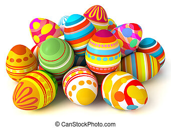 Happy Easter. Pile of eggs. Conceptual illustration. ...