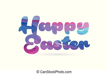 happy easter pink blue color word text logo icon