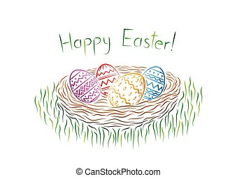 Happy Easter postcard. Ornamental Easter eggs in a nest.