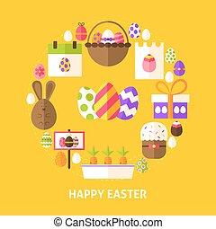 Happy Easter Postcard. Poster Design Vector Illustration....
