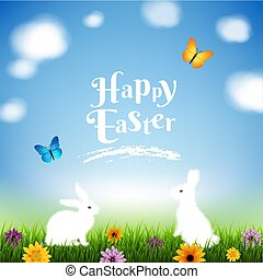 Happy Easter Postcard With Gradient Mesh, Vector...