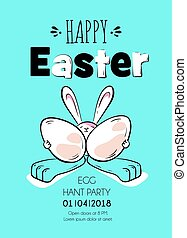 Happy Easter poster. Cute rabbit holds eggs and smiles....