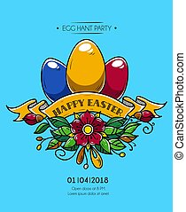 Happy Easter poster. Happy Easter invitation to party....