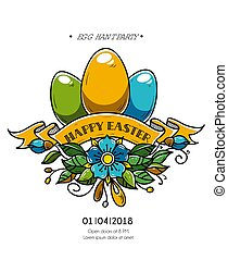 Happy Easter poster. Holiday eggs decorated of ribbon and...