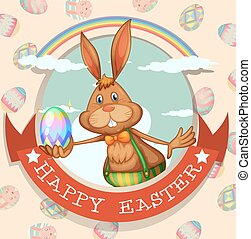 Happy easter poster with bunny and egg