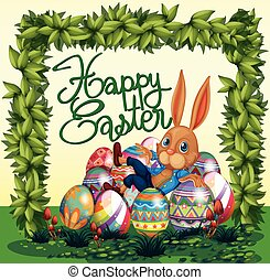 Happy Easter poster with bunny and eggs in garden