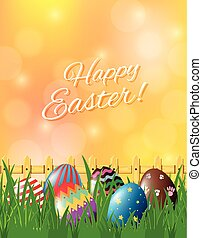Happy Easter poster with decorated eggs in garden