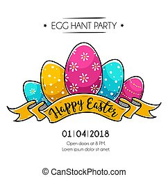Happy Easter poster with Easter eggs - Happy Easter poster...