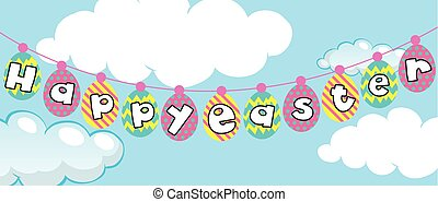 Happy Easter poster with eggs in sky