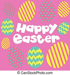 Happy Easter poster with eggs on pink background