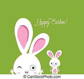 happy easter rabbit and eggs