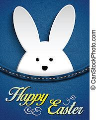 Happy Easter Rabbit Bunny in Jeans Pocket