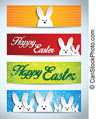 Happy Easter Rabbit Bunny Set of Banners