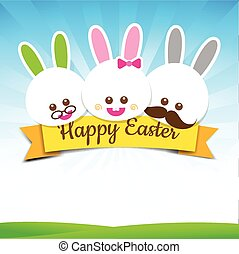 Happy easter rabbit bunny with text on Nature background