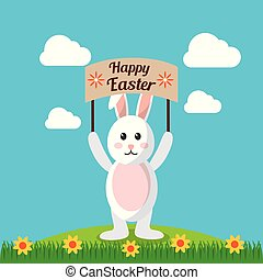 happy easter rabbit holds placard with landscape